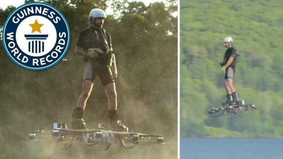 Il bat le record du monde avec un skateboard volant !